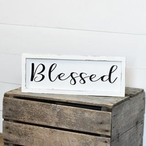 Other - Blessed 16″ Tin Wood Framed Sign